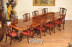 Regency Dining Set Pedestal Table and 10 Chippendale Chairs Mahogany Suite