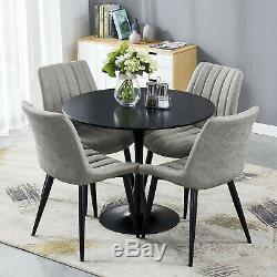 Retro Dining Table and 4 Distressed Chairs Faux Leather Black Legs Kitchen Sets