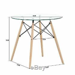Retro Style Small Round Glass Table and 4 Dining Chair set for Dining Room White