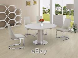 Round Cream High Gloss Extending Dining Table With 4 Cream Chairs Option