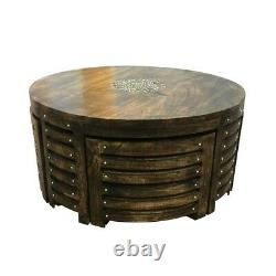 Round Dining Set Table And 4 Chairs Stools Compact Space Saver Wooden Kitchen