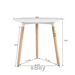 Round Dining Table And 2 Dining Chairs Retro Solid Wood For Small Kitchen White