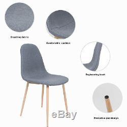 Round Dining Table Wood And 4 Fabric Chairs Set Sturdy Office Metal Legs Modern