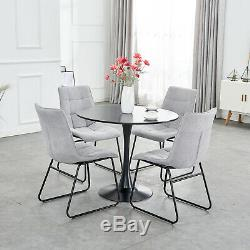Round Dining Table and 4 Chairs Linen Fabric Black Metal Legs Kitchen Living Set