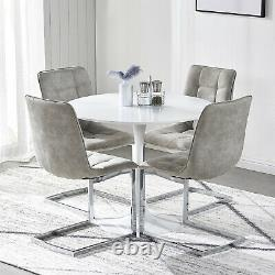 Round Dining Table and 4 Chairs Micofiber Suede Chrome Legs Coffee Kitchen Home