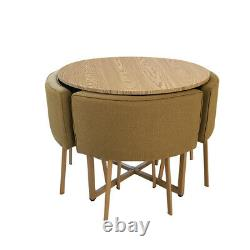 Round Dining Table and 4 Chairs Space Saver Dining Set Home Cafe Table UK