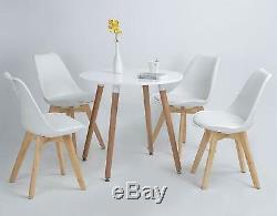 Round Dining Table and 4 Dining Chairs Set Wood Style for Dining Kitchen White