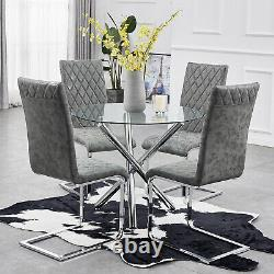 Round Dining Table and Chairs Set Glass Top Chrome Legs Modern Kitchen Furniture