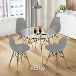 Round Glass Dining Table and 1/2/4 Grey Chairs Set Office Kitchen Lounge Home UK