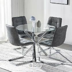 Round Glass Dining Table and 4 Chairs Set Tufting Microfiber Seat Kitchen Office