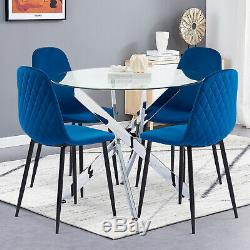 Round Glass Dining Table and 4 Chairs Set Velvet Soft Seat Kitchen Living Room