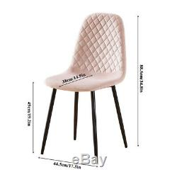 Round Glass Dining Table and 4 Pink Velvet Dining Chairs Set Kitchen Diningroom