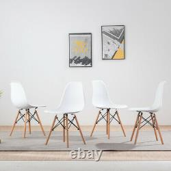 Round Glass Dining Table and 4 White Chairs Set Office Kitchen Lounge Home UK