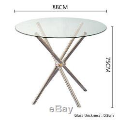 Round Glass Table Kitchen Cafe Dining Coffee Table Metal Tube Bar and 2/4 Chairs