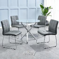 Round Glass Table and 4 Dining Chairs Set Crisscrossing Metal Base Home Kitchen