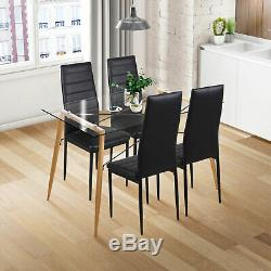 Round/Rectangle Dining Table and 4 Chairs Set High Back Padded Seat Dining Room