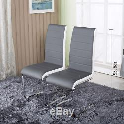 Round Tempered Glass Dining Table Set And 4 Grey Chairs Faux Leather Chrome Legs