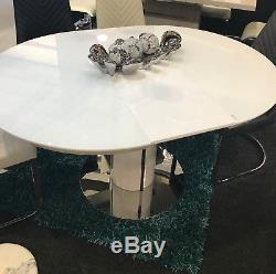 Round White High Gloss Dining Table Extendable With Chairs Option