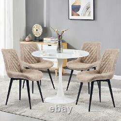 Round White Table and 4 Chairs Set Micro Suede Fabric Slope Chair Room Kitchen