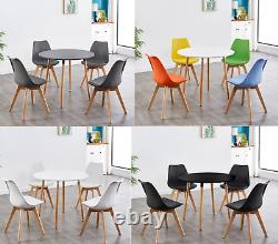 Round Wood Dining Table And 4 Or 6 White Grey Tulip Chairs