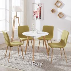Round Wood Dining Table and 4 Chairs Set Fabric Seat Kitchen Lounge Room Coffee
