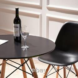 Round Wood Dining Table and Dark Grey Chairs Set Wooden Kitchen Room Furniture