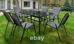 Rufford Garden Table And 6 Chair Set. Grey. Patio, Conservatory