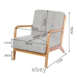 Rustic Armchair Wooden Fabric Padded Button Dining Accent Tub Chair Single Sofa