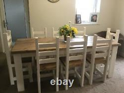 Rustic, Farmhouse Dining Table And 8 Chunky Chairs