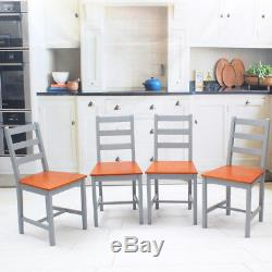Rustic Wooden 6 Pieces Dining Table Set 2 Seater Bench and 4 Chairs Kitchen Room