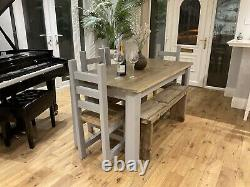 Rustic, farmhouse Dining Table, 4 Chunky Chairs And A bench