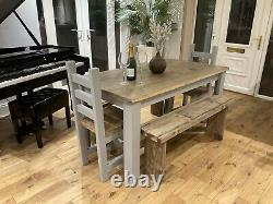 Rustic, farmhouse Dining Table, 4 Chunky Chairs And A bench. All Hand Crafted