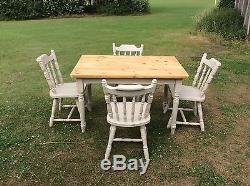 Rustic shabby chic farmhouse kitchen table and chairs