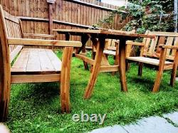 SALE! 5 seater Wooden Garden Patio Furniture set TABLE, BENCH and 2 x CHAIRS