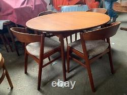 SCANDINAVIAN Teak Mid century Dining Table and x4 Chairs kai kristiansen WOW