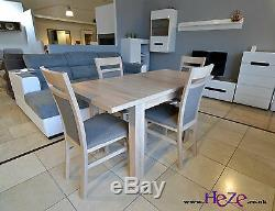 SET of extending dining table and 4 solid wood chairs sonoma, small&great! Kam02