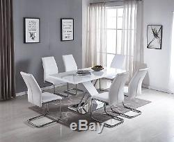 SORRENTO Modern Large White High Gloss Chrome Dining Table And 6 White Chairs