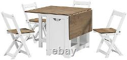 Santos Folding Drop leaf Butterfly Dining Set Table 4 Chairs White & Waxed Pine