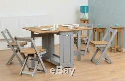 Santos Folding Drop leaf Butterfly Dining Set with Table 4 Chairs Grey and Pine