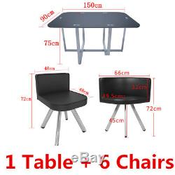 Saver Designer Dining Table and 4 6 PU Leather Chairs Set Tempered Glass Space