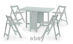 Savoy Folding Drop leaf Butterfly Dining Set with Table 4 Chairs Light Grey