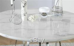 Savoy Round White Marble and Chrome Dining Table with 4 Renzo Light Grey Chairs