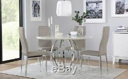 Savoy Round White Marble and Chrome Dining Table with 4 Renzo Taupe Chairs