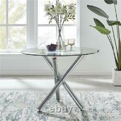 Selina Round Glass Chrome Leg Modern Dining Table and 4 Chairs