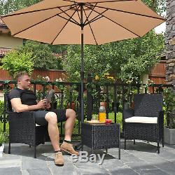 Set of 3 Polyrattan Garden Furniture, Patio Furniture Set, Outdoor Table Chairs