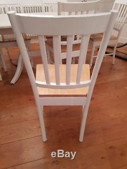Shabby chic white extending dining table and 6 chairs
