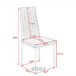 Small Clear Glass Dining Table and 4 Grey Chairs Set Home Furniture Space-saving