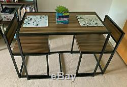 Small Dining Table and 2 Chairs Kitchen Breakfast Table Industrial Modern Set