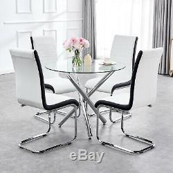 Small Glass Round Dining Table Set and 4 Chairs Faux Leather Chrome Cross Legs