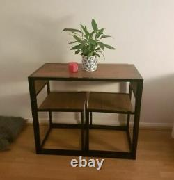Small Industrial Dining Table and 2 Chairs Set Rustic Wood Breakfast Bar Kitchen
